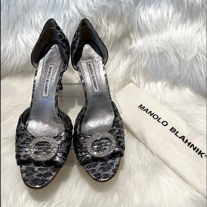 Manolo Blahnik Sedaraby black/silver leopard